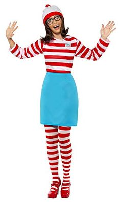 Where's Wally Wenda Costume Womens Ladies Fancy Dress World Book Day Week Outfit Modest Halloween Costumes, Funny Costumes, Adult Costumes, Costumes For Women, Woman Costumes, Couple Costumes, Pirate Costumes, Group Costumes, Couple Halloween