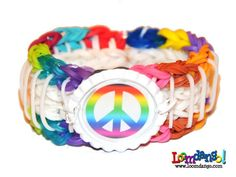 Rainbow Loom Rainbow Peace Bottle Cap Bracelet