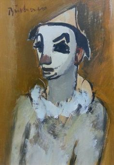 S2875 Buchner Clown Mixed Media 27cmx39cm South African Artists, Old Master, Masters, Paintings, Gallery, Paint, Painting Art, Painting, Drawings