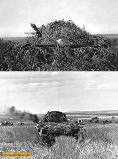 1942. Keleti front. Álcázott Toldi harcjárművek a harcmezőn.