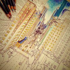 """""""巷でウワサの大人の塗り絵 明日から仕事という現実からの逃避 #fantasticcities"""""""