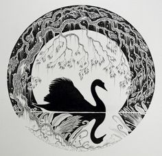 SWAN ILLUSTRATION UNFRAMED The Swan of Tuonela is an original unframed, silhouette, black and white of a swan, moon,stars, plants and tree. by JamiePattersonArt on Etsy https://www.etsy.com/listing/211684366/swan-illustration-unframed-the-swan-of