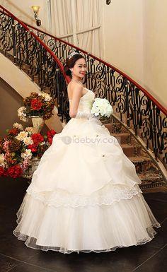 ストラップレス花飾りピックアップウェディングドレス