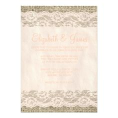 Coral Rustic Lace and Barn Wood Wedding Invitations