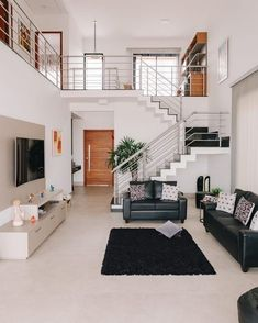 Small House Interior Design, Modern House Facades, Home Building Design, Small House Interior, Home Stairs Design, Modern Small House Design, Duplex House Design, 2 Storey House Design, Tiny House Design