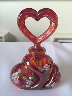 Fenton Red Carnival Glass Hand Painted Perfume by FrannieBee