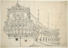 Portrait of a French two-decker. Built in Holland 1666-67 - National Maritime Museum.  Artist/Maker Velde, Willem van de Credit National Maritime Museum, Greenwich, London Materials graphite & wash, grey Measurements
