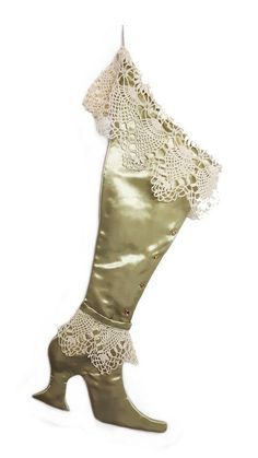 The Green Victorian Lace Christmas Stocking - Limited Edition Shabby Chic Christmas Ornaments, Easy Diy Christmas Gifts, Crochet Christmas Ornaments, Christmas Stockings, Christmas Crafts, Christmas Ideas, Christmas Decorations, Christmas Presents, Holiday Ideas
