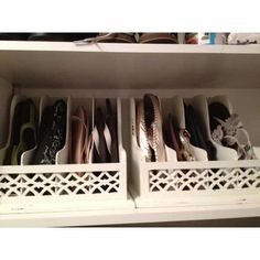 Shoe organizer - Brilliant way to store your flats & flip flops, in magazine files!