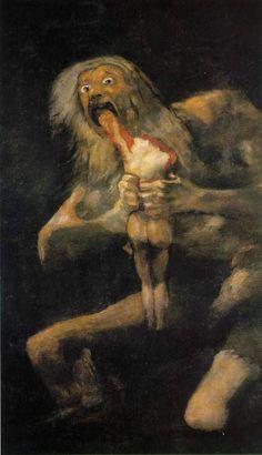 """Saturn Devouring His Son"", Francisco Goya, c. 1819–1823. Oil mural transferred to canvas, 143cm x 81cm. Museo del Prado, Madrid"