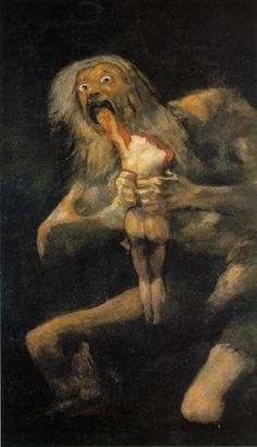 """Saturn Devouring His Son"", Francisco Goya, c. 1819–1823. Oil mural transferred to canvas, 143cm x 81cm. Museo del Prado, Madrid"