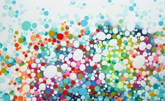 """""""So Many Choices"""" by Claire Desjardins. 48""""x80"""", acrylics on canvas. #abstract #colour #dots #lotsofdots #circles #clairedesjardins #artwork #clairedesjardinsart #art #painting #abstractart #abstractartwork #abstractpainting #originalart #originalartwork #originalpainting #artforsale #artworkforsale #paintingforsale #pink #turquoise #wallart #walldecor #interiordeco #interiordecor #interiordecorating #interiordecoration #anthroartist"""