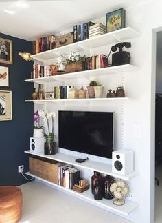 9 Determined ideas: Floating Shelves Under Tv Medium white floating shelves hallways.Floating Shelves Office Photo Ledge floating shelf over tv built ins.Floating Shelves With Drawers Furniture. Living Room Tv, Apartment Living, Home And Living, Living Room With Bookshelves, Bookshelves With Tv, Shelf Ideas For Living Room, Small Livingroom Ideas, Living Room Shelving, Apartment Therapy