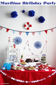 Maritime Party Decor & Food Table.