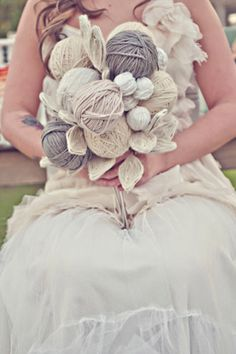 Wool bouquet - wouldn't want this as a bouquet, but I like the idea for a floral arrangement in the house.