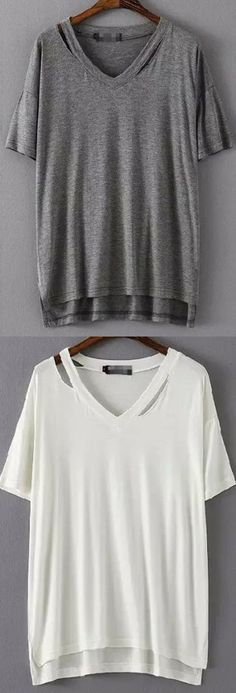 Dip hem loose t shirt available in grey and white color. It feels so soft that makes you relaxing in this t shirt. Only $9.89 for your summer break! View more at Shein.com