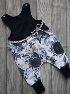 Rompler Baby Girl Romper Flowers Lace Loop navy White Baby Clothes - Home & Women