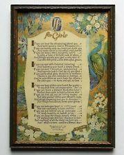 Vtg Circa 1924 Buzza Kipling If For Girls Framed Motto Print Peacock Gold Ground