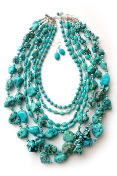 Chunky Layered Turquoise Necklace Set on Emma Stine Limited