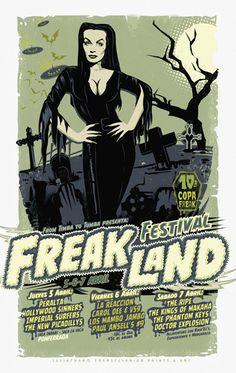 Freakland by Leviathan ••• #design #creative #create #poster #graphic #vintage #diseño #lifestyle #rockNroll #psychobilly #art #rockabilly #hotrod #motocicletas #bikers #cartel