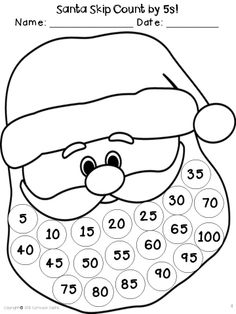 Santa skip count by 5's...math craftivity FREEbie!