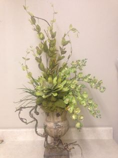 Greenery for Floral Arrangements Orchid Flower Arrangements, Contemporary Flower Arrangements, Artificial Floral Arrangements, Floral Centerpieces, Artificial Flowers, Wedding Centerpieces, Church Flowers, Funeral Flowers, Spring Flowers