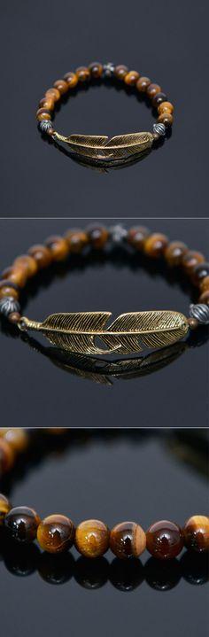 Tiger Eye Gold Leaf Beads-Bracelet 405 by Guylook.com       Great quality tiger eye gemstone & lux gold metal leaf     Elastic & fits any wrist