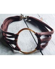 Jewelry Junkie Womens Leather Choker , Gold
