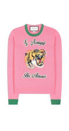 Gucci - Wool sweater with appliqué Woolen Tops, Tech Fleece Hoodie, Gucci Sweatshirt, International Fashion Designers, Gucci Top, Knitwear Fashion, Pink Sweater, Pink Tops, Wool Sweaters