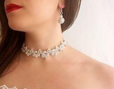 Set joyería de boda para vestido marfil  Joyería por DIDIcrochet