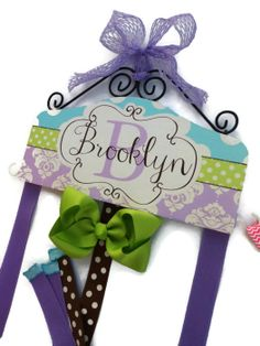 Turquoise Green and Lavender hair bow holder.  Baby Shower Gift