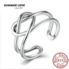 Summer love silver 925 jewelry adjustable rings for women girls sterling silver jewelry heart shaped engagement ring 2017 new #Affiliate