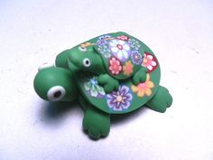 New Fimo Polymer Clay Green Turtle w/ Baby Turtle by andreascrafts, $4.99