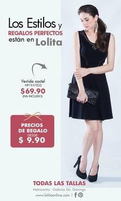 el vestido negro de cóctel nunca asa de moda. En estas fiestas es lo ideal para lucir bella .