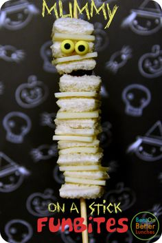 BentOnBetterLunches: Yummy Mummy... On A Stick! I'm not into Halloween, but this is cute and could be used for an Egyptian/historical theme of some kind too.