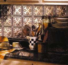Tin Ceiling and Backsplash Designs Copper Kitchen, Kitchen Redo, Kitchen Remodel, Kitchen Ideas, Kitchen Black, Kitchen Tools, Kitchen Island, Warm Kitchen, Kitchen Living