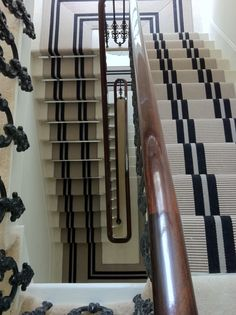Modern Runner Carpet Decor Ideas For Stairs - Victorian Hallway, Edwardian Staircase, Striped Carpets, Staircase Runner, Black Staircase, Carpet Decor, Carpet Ideas, Floating Stairs, Stair Rods