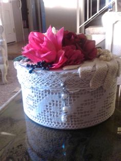 8 Decorated rd hat box with vintage silk flowers by GoodStufffff, $20.00