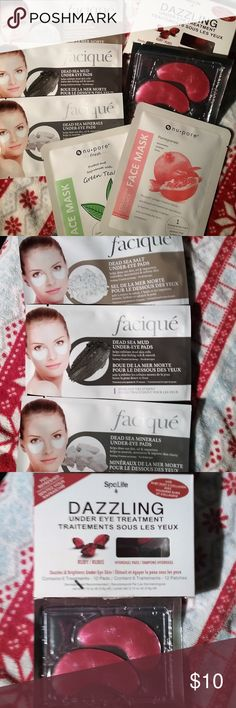 6pc Eye/Face Pack ** 2 Sets availabe to purchase 6pc Eye/Face Pack Featuring  1 set of Rubies Dazzling under eye Gemstone Hydrogel pads (Ruby Mica Powder,Rose Flower Oil,Algae extract, Hyaluronic acid,beta-glucan, Hydrolyzed soy protein 1 Dead Sea Salt Under eye pads 1 D Sea Minerals 1 ds mud 1 Pomegranate (punica granatum fruit extract,glycerin,butylene glycol,allantoin,hydrolyzed collagen) 1 Green Tea( Glycerin,phenoxyethanol, chlorphenesin, camilla sinensis, leaf extract,tocopheryl…