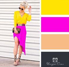 outfit plus size Colour Combinations Fashion, Color Combinations For Clothes, Color Blocking Outfits, Fashion Colours, Colorful Fashion, Color Combos, Fashion Mode, Look Fashion, Fashion Design