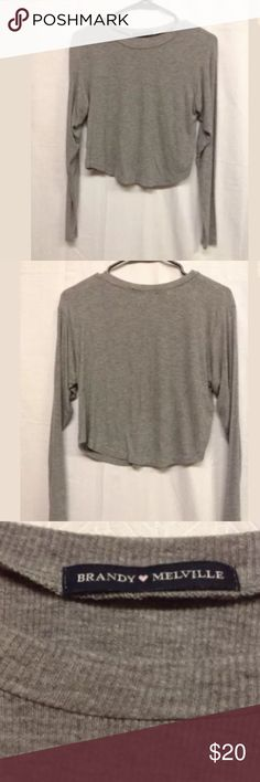 Brandy Melville long sleeve CROP top In good condition size small. Gray long sleep crop top Brandy Melville Tops Crop Tops