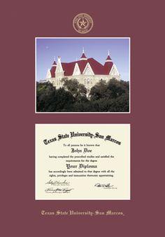 texas state university san marcos diploma frame