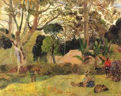 Paul Gauguin.  Der große Baum (Te raau rahi). 1891, Öl auf Leinwand, 73 × 91,5 cm. Chicago, Art Institute. Synthetismus. Frankreich. Postimpressionismus.  KO 01371
