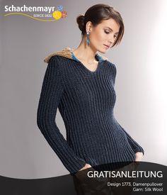 Das sportive Design im Marine-Look besticht durch die schmale Passform sowie die edle Garnqualität Silk Wool - die Kombination von hochwertiger Seide und klassischer Schurwolle.