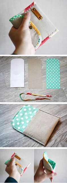Coin Purse DIY tutorial in pictures. What a cute and simple idea. Diy Coin Purse, Coin Purse Tutorial, Sewing Hacks, Sewing Tutorials, Sewing Patterns, Fabric Crafts, Sewing Crafts, Diy Sac, Creation Couture