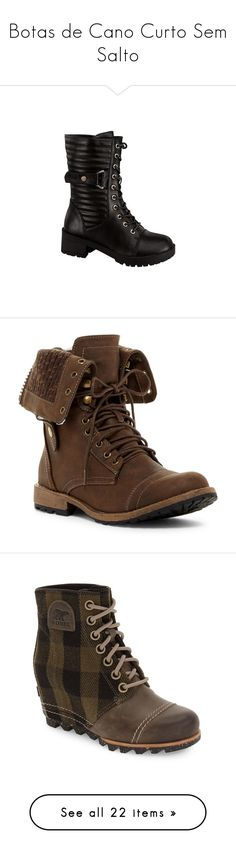 """""""Botas de Cano Curto Sem Salto"""" by pamela-gecko-winchester ❤ liked on Polyvore featuring shoes, boots, black, army boots, black lace-up boots, combat booties, military combat boots, lace up boots, brown and mid-calf boots"""