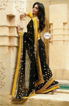 Black yellow sweet saree