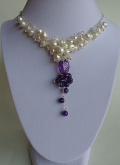 Amethyst Necklace, Freshwater Pearls Necklace, Cluster Necklace, Gemstones Necklace, Bridal Necklace, Handmade by Iris jewelry Creations.