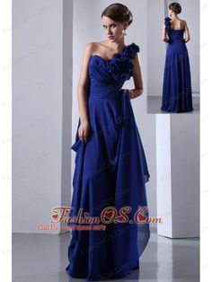 Royal Blue Empire One Shoulder Hand Made Flowers Prom Dress Floor-length Chiffon- $134.46  http://www.fashionos.com   | prom gown with dropped waist | baby pink prom dresses with lace up back | where to find evening gown with baby pink | baby pink graduation dresses for girls |