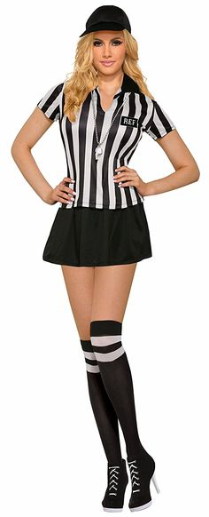 Amazon.com: Forum Women's Sexy Referee Costume with Matching Knee Highs, Black/White, STD: Clothing